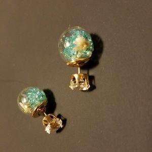 Glass Blue Ball Chrystal Bubble,  Stud Earrings.